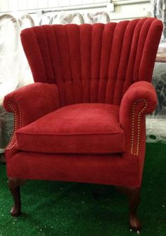 After picture of antique channel back chair