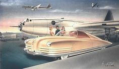 1941 Chrysler Styling Concept Rendering Gil Spear Canvas Print / Canvas Art by… Render Architecture, Car Illustration, Retro Futuristic, Us Cars, Art Deco Design, Retro Design, Future Car, Retro Art, Automotive Design