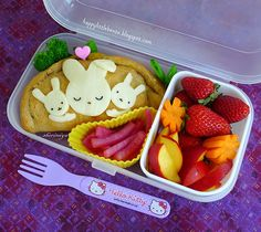 Mama Loves Her Bunnies Bento. Lovely carrot flowers!