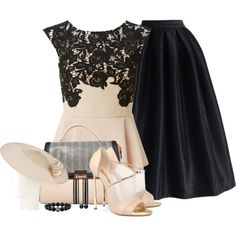Black full midi skirt with lace