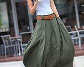 Romantic Army Green Pretty Linen Bud Long Maxi Skirt - NC336