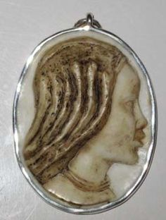 For Sale! Black Heritage Onyx Gemstone Cameo of African Himba Tribe Woman. Mounted in .950 Silver.