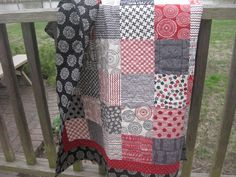 Gray red black quilt patchwork throw blanket lap quilt cottage Sweetwater fabric by OliveStreetStudio on Etsy https://www.etsy.com/listing/129887637/gray-red-black-quilt-patchwork-throw