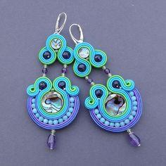 earrings soutache Like a Bird shell Paua and by BlueButterflybizu