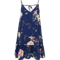 River Island Blue floral frill hem cami dress (€54) ❤ liked on Polyvore featuring dresses, blue, tops, sale, women, blue floral dress, floral print dress, v neck dress, floral cami and floral slip dress