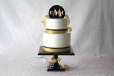 Great Gatsby Wedding Inspiration - Art Deco Cake Topper - mazelmoments.com