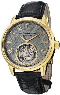 Stuhrling Original Men's 536.333X2 Tourbillon Limited Edition Meteorite Mechanical Gold-Tone Watch Stuhrling Original. $899.99. Water-resistant to 50 M (165 feet). Limited edition, classic two hand tourbillion movement with open heart complication. Polished 23K yellow gold layered round shaped case with genuine Sapphire crystals. Raw Meteorite dial with gold tone Roman numerals and hands. Black genuine Crocodile leather strap with gold tone deployment push-button clas...
