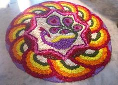 Here are some very beautiful flower rangoli designs for Diwali, Onam, Pongal, and Durga puja. Flower rangoli are easy to make and very gorgeous to look at. Rangoli Designs Flower, Colorful Rangoli Designs, Rangoli Designs Diwali, Rangoli Designs Images, Diwali Rangoli, Flower Rangoli, Beautiful Rangoli Designs, Diwali Craft, Diwali Decorations