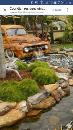 Old truck waterfall pond 26 new ideas
