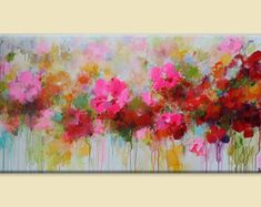 Flower painting,abstract flower painting, red,pink,orange,red abstract painting…