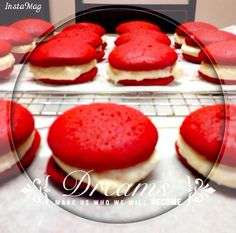 Red velvet whoopie pies with marshmallow-cream cheese filling