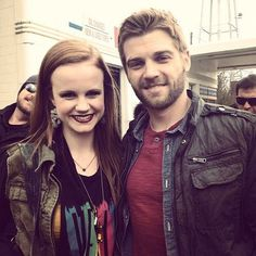 "Mackenzie Lintz (Norrie) and Mike Vogel (Barbie) on the set of ""Under the Dome""."