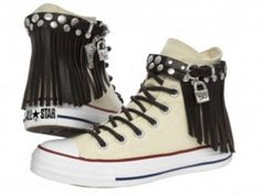 I DO want! (pinned from someone else) - Converse teamed up with Spanish jewelry brand Uno De 50 to create these sneaks, which I LOVE (although I love anything embellished and/or with fringe)!  They were featured in a negative article by TheFrisky.com...
