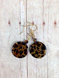 Handmade Leopard Print Shell Earrings with Tiger Eye Beads by TimelessTreasuresbyM on Etsy