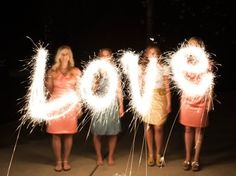 """HOW TO MAKE SPARKLER MESSAGES *Use a tripod *Set camera mode to M (manual) *Set f/stop to f5.6 *Set shutter speed to 4"""" (4 seconds) or slower (make the shutter speed faster for more defined words) *Set white balance to Tungsten *Make sure everyone writes their letters backwards! …via Pinterest"""