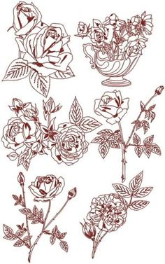 Advanced Embroidery Designs - Rose Redwork Set IV