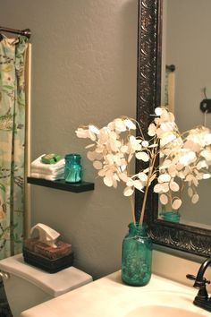 love the blue mason jars 20 Practical And Decorative Bathroom Ideas