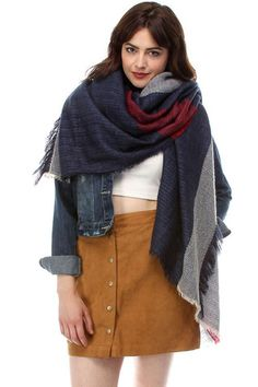 Women's Double Layered Frayed Square Oversized Scarf in Navy Fall Scarves, Oversized Scarf, Womens Scarves, Toddler Girl, Lady, Navy Color, Shopping, Clothes, Style