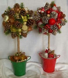 Christmas Topiary, Christmas Mesh Wreaths, Christmas Card Crafts, Christmas Store, Christmas Makes, Christmas Wood, Christmas Holidays, Christmas Ornaments, Pine Cone Decorations