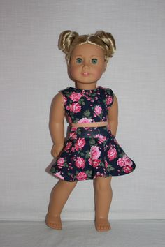 18 inch doll clothes, floral print skater/circle skirt and matching crop top…