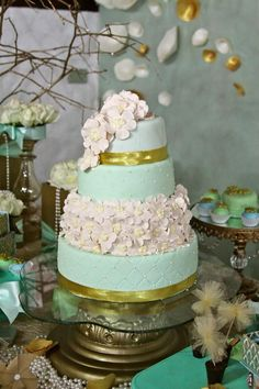 Gold and Mint Baptism with So Many Beautiful Ideas via Kara's Party Ideas | KarasPartyIdeas.com #GoldAndMintParty #BaptismDessertTable #BaptismIdeas #PartyIdeas #Supplies (8)