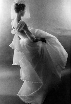 John Bates for Jean Varon wedding dress    Photographed by Sandra Lousada for the Sunday Times Magazine, June 3, 1962.