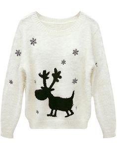 Beige Long Sleeve Deer Snowflake Pattern Sweater US$29.84