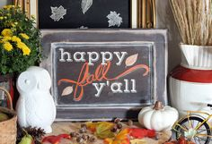 Happy Fall Y'all sign created with Silhouette Studio | from Fynes Designs