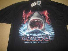 NEW  Vntg JAWS MOVIE  T Shirt L Large  - Black - UNIVERSAL STUDIOS - NWT shark #UniversalStudios #GraphicTee
