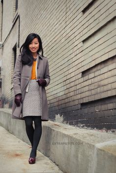 Winter Workwear: Gray Layers + Burgundy Leather Accents