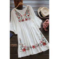 Cupshe Free Spirit Floral Embroidery Dress ($24) ❤ liked on Polyvore featuring dresses, loose dresses, loose fitting dresses, embroidered flower dress, loose fit dress and v neck dress