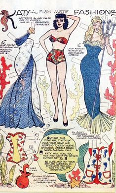 vintagegal:    Katy Keene Fish Motif paper doll c. 1950's* 1500 free paper dolls at Arielle Gabriels International Paper Doll Society also free paper dolls at The China Adventures of Arielle Gabriel *