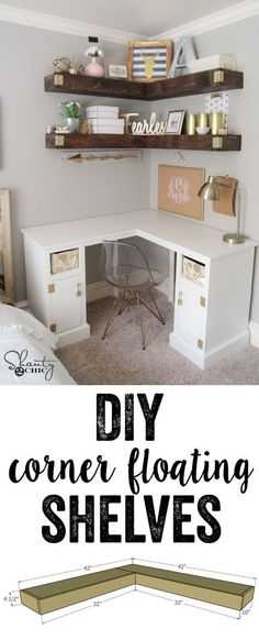 Super easy tutorial to build DIY Floating Corner Shelves... Each shelf uses only $40 in lumber. The braces are created using 2x4 and wrapped in inexpensive but beautiful pine boards. You can find the free plans and full instructions and tutorial at http://www.shanty-2-chic.com!