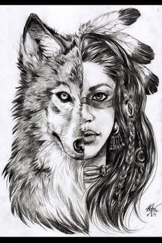 Love, smile, wolf red indian tattoo, indian women tattoo, cherokee indian t Indian Women Tattoo, Indian Girl Tattoos, Cherokee Indian Tattoos, Native American Wolf, Native American Tattoos, Native American Drawing, Tattoo Girls, Forarm Tattoos For Women, Wolf Tattoos For Women