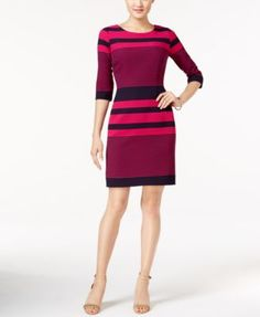 Tahari ASL Striped Knit Sheath Dress | macys.com