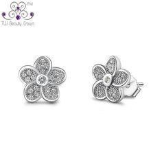 Real 925 Sterling Silver Small Fashion Flower Design Stud Earrings Women Accessories White Crystal Cubic Zirconia Anti Allergic