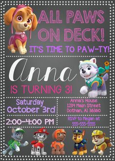 Girl Paw Patrol Invitation Paw Patrol Birthday Paw by MKellyDesign