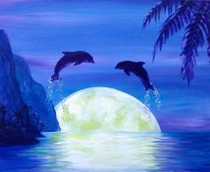 wine and canvas painting ideas Simple Acrylic Paintings, Seascape Paintings, Acrylic Painting Canvas, Animal Paintings, Canvas Art, Canvas Ideas, Tropical Paintings, Beach Paintings, Canvas Paintings