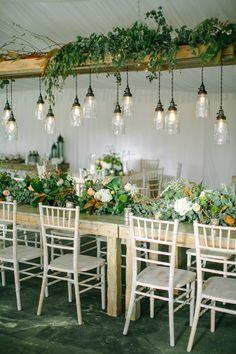 Lush organic wedding table inspiration: http://www.stylemepretty.com/2014/12/03/rustic-wisconsin-backyard-wedding/ | Photography: Erin Jean - http://www.erinjeanphoto.com/