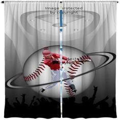 Baseball Swing Shower Curtain Bat Sport Major League Boy Fun Baseballer Bathroom Decor Kids Bath Curtains Custom Size Long Wide Waterproof