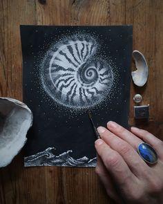 Nautilus Moon~ Pen & Sumi ink & graphite  Swimming in moonlight