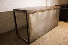 Industrial steel desk with interesting patination.