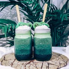 Jungle Smoothie Treat topped with dehydrated kiwifruit chips. Made the layers with blends of frozen bananas, chlorella, and wheatgrass powders and chilled coco cream.