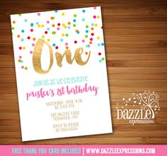 Rainbow gold 1st birthday invitation girl any age rainbow dots and printable girls rainbow confetti and gold birthday invitation sprinkles 1st birthday party digital filmwisefo
