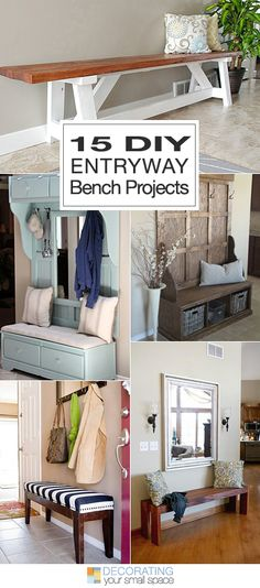 15 DIY Entryway Bench Projects • Tons of Ideas and Tutorials!- Love the Powder Blue one Furniture Projects, Diy Furniture, Home Projects, Reupholster Furniture, Entryway Decor, Entryway Ideas, Entrance Ideas, Garage Entryway, Hallway Ideas