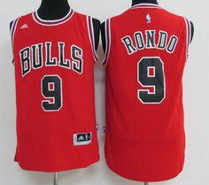 Chicago Bulls  9 Rondo Red Men 2017 New Logo NBA Adidas Jersey Ice Hockey  Jersey f8dc5935447