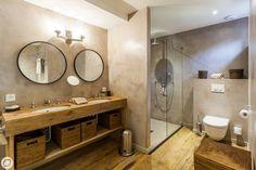 Luxury Bauhaus style home bathroom with concrete and taupe walls Rustic Bathroom Vanities, Ikea Bathroom, Wooden Bathroom, Attic Bathroom, Bathroom Spa, Small Bathroom, Rustic Vanity, Blue Bathroom Interior, Mediterranean Bathroom