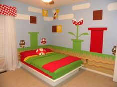 Bright, Red, Green and Fun Kid Bedroom Design Idea with Mario Bros Theme