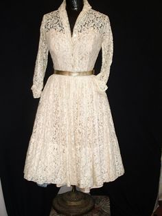 1950's White Lace Dress w/Pink Under Dress