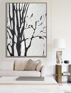 Black and white Tree Minimalist Art acrylic painting contemporary art by CZ Art Design Black And White Tree, Black And White Artwork, Black And White Abstract, Large Canvas Art, Diy Canvas Art, Large Wall Art, Black Canvas, Minimalist Painting, Minimalist Art